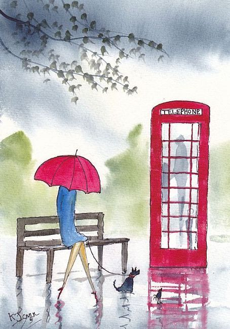 More red umbrellas and rain by KJ Carr Art: Rainy Day Waiting by Artist KJ Carr