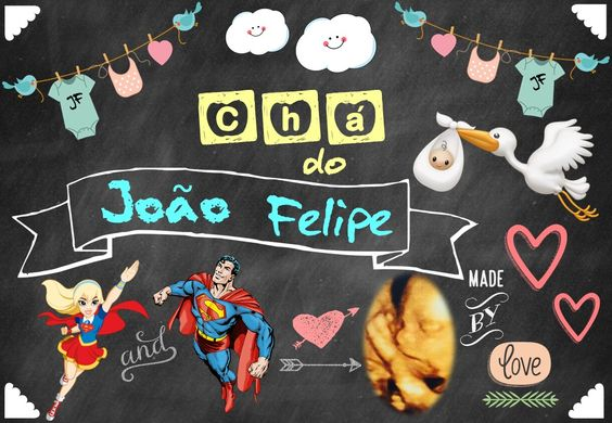 Chalkboard Chá do Lipe - Fundo lousa preta ❤️🎂