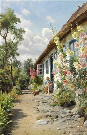A summer day with hollyhocks in front of the farm house by Peder Mørk Mønsted