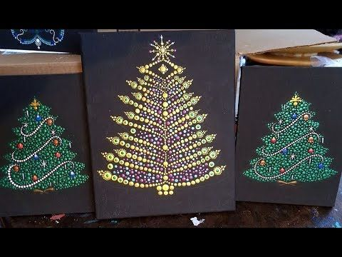 How To Paint A Dot Art Elegant Golden Christmas Tree Live Dot Along Replay Youtube Christmas Tree Painting Dots Art Dot Painting