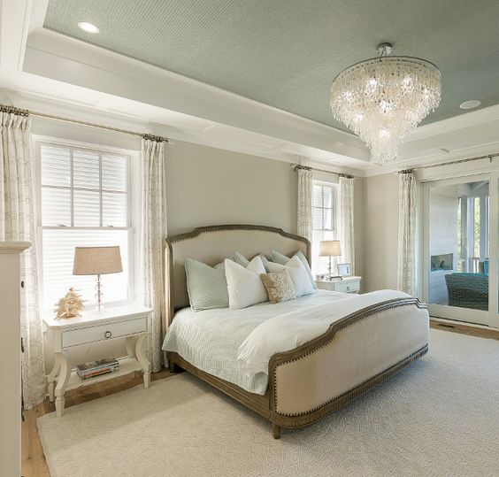 The wall paint color is SW Anew Gray 75%. The ceiling features a wallpaper in a sea salt colored grass cloth. Wallpaper is Thibaut – Raffia in Teal.
