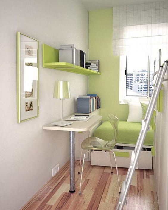 Amenajare moderna camera copil: alb si verde; mobila din pal si mdf