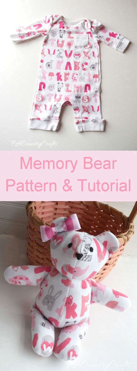 Turn a baby sleeper into a memory bear keepsake- free DIY sewing pattern and step by step tutorial with clear directions and pictures.