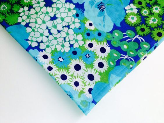 Blue and green, now I'm feeling giddy! Fabric Blue and Green Flowers from the 1960s or 1970s by KimBuilt, $5.00