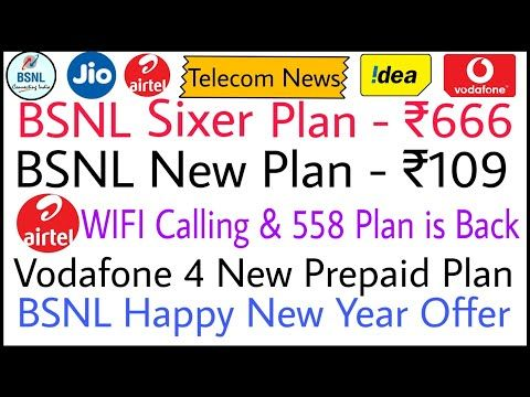 Bsnl 666 Plan Revised Bsnl New Plan 109 Airtel Wifi Calling 558 Plan Vodafone 4 New Plans Bsnl Hny Youtube How To Plan Happy New Year 2020 New Year Offers