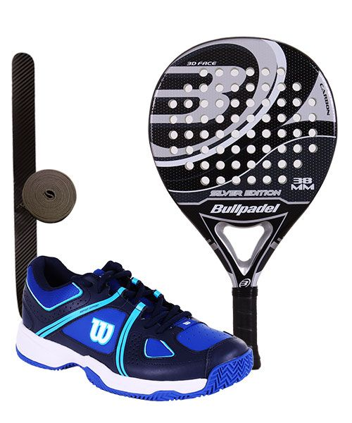 PACK BULLPADEL SILVER EDITION Y ZAPATILLAS WILSON NVISION ENVY AZUL