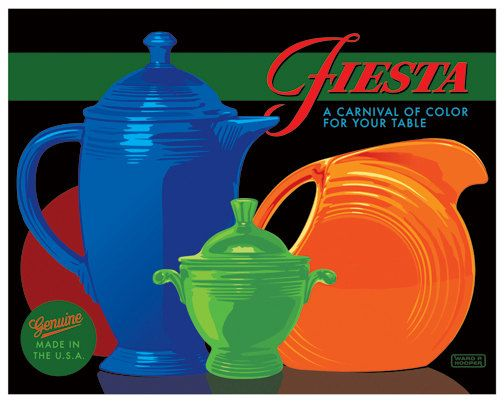 "Fiestaware Poster by Ward Hooper 16"" x 20"" Ringware, Homer Laughlin, Fiesta"
