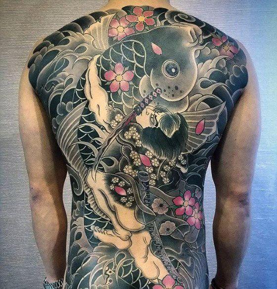 50 Japanese Back Tattoo Designs For Men Traditional Ink Ideas Japanese Back Tattoo Back Tattoo Traditional Japanese Tattoos