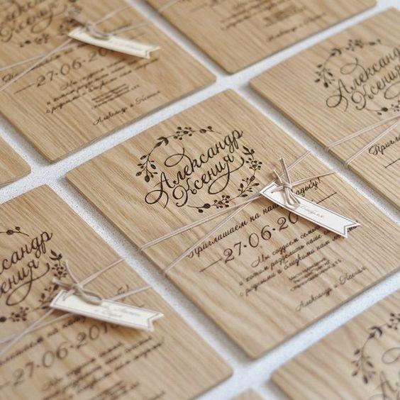 Свадебные приглашения по дереву