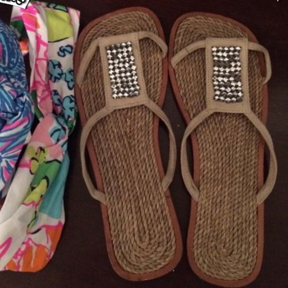 Rhinestone & Suede Sandals Perfect for summer. New and never worn. Slight heel and great rhinestone detail trimmed in tan suede. Includes a beauty sample, of my choice (my surprise to you)!! Shoes Sandals