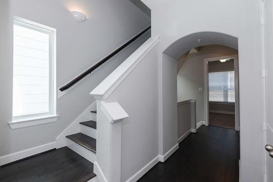 Stair Landings were kept simple with clean lines and wood floors