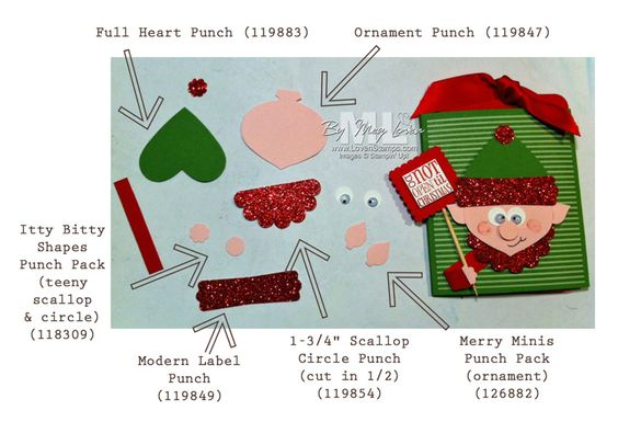 Elf on the Shelf Stampin' Up Punch Art directions and supply list | 12 ...