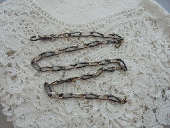 Antique niello enamel real silver chain 1900 by Nkempantiques