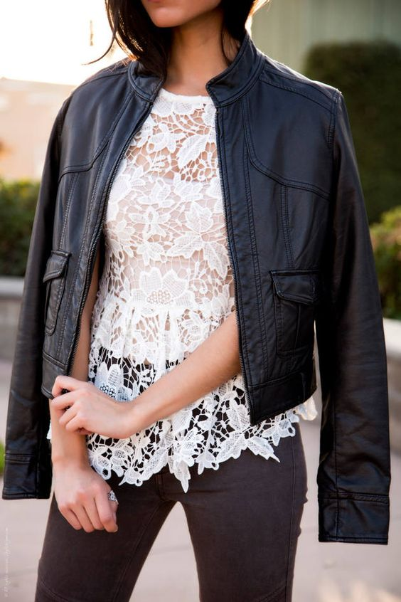Mixing Styles – Lace And Leather  #Black Leather Jacket #Cropped #White #White lace Top #Crochet #Crew Neck #Brown skinny Jeans