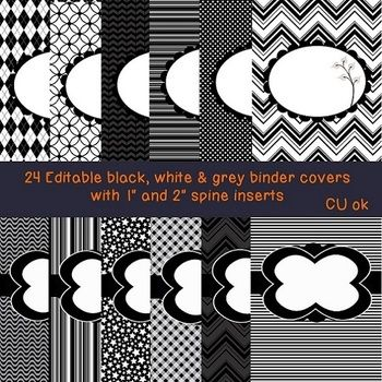 half inch binder spine template - 24 editable black and white binder covers 2 with 1 and 2