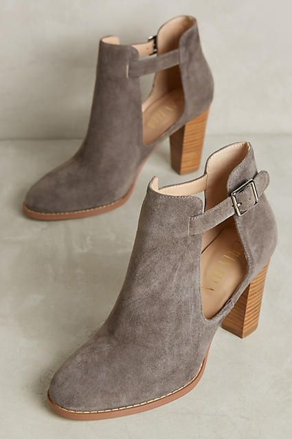 Cutest suede booties ever! Love the stacked heel and open sides!  (affilate)