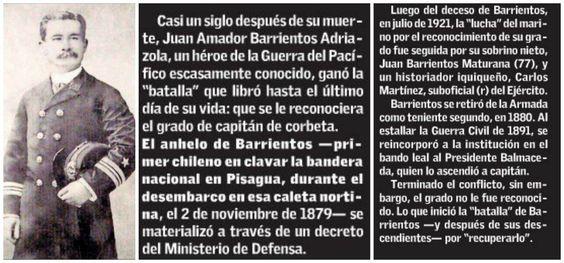 GOBIERNO DA ASCENSO POSTUMO A HEROE DE LA GUERRA DEL PACIFICO  (El Mercurio de Santiago, 20 de septiembre, 2015)