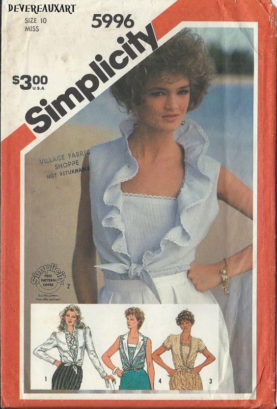 1983 Simplicity Pattern 5996  UNCUT  Miss Size 10  by Devereauxart, $6.00