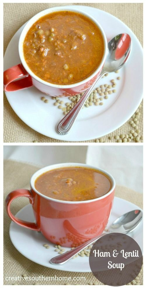 ham and lentil soup is chocked full of super foods to give you great energy and nutrition!  creativesouthernhome.com