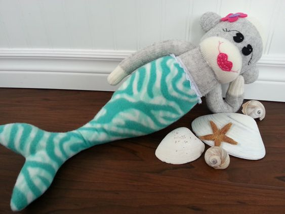 Sock Monkey Mermaid by MunkybunsSockToys on Etsy