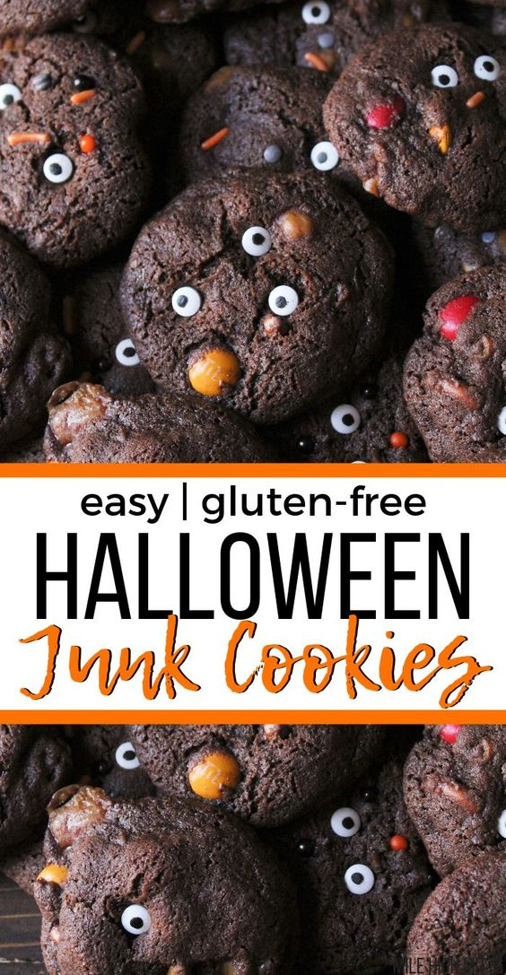 Filled with leftover Halloween candy? I've got a great idea for you! Start the tradition with your family to make JUNK COOKIES! Filled with chopped up bits of goodies from trick-or-treating, these cookies are the perfect dessert for the Halloween season. Gluten-free too so everyone can enjoy them!