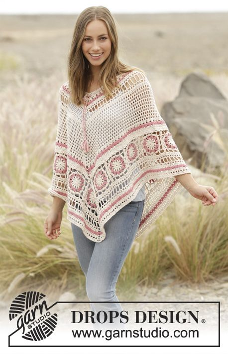 Poncho with lace pattern and crochet squares, worked top down in DROPS Belle. Sizes S - XXXL. Free pattern by DROPS Design.
