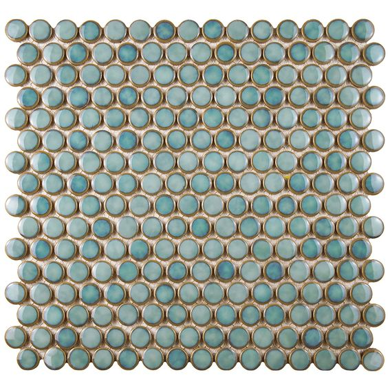 "SomerTile FKOMPR86 Penny Porcelain Mosaic Floor and Wall Tile, 12"" x 12.625"", Blue/Storm Grey"
