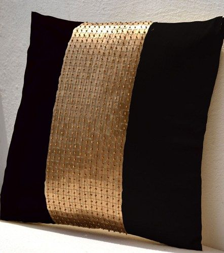 Throw Pillow Case Black Gold Color Block In Silk Sequin Bead Custom Black And Gold Decorative Pillows