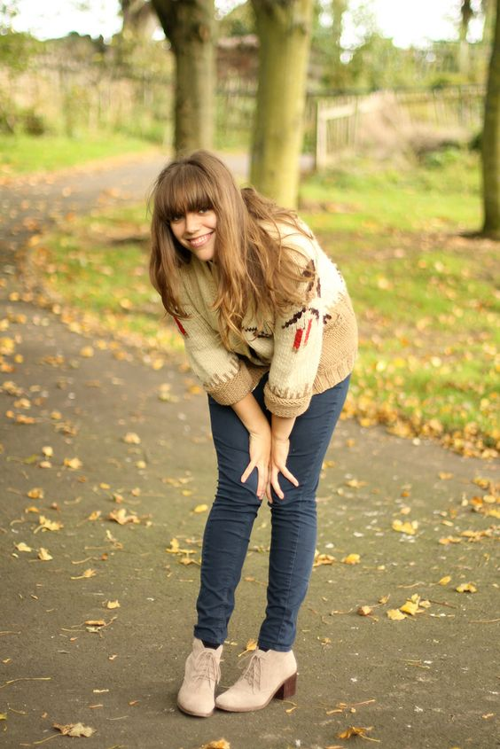 booties+skinny jeans+ chunky vintage knits=autumn love