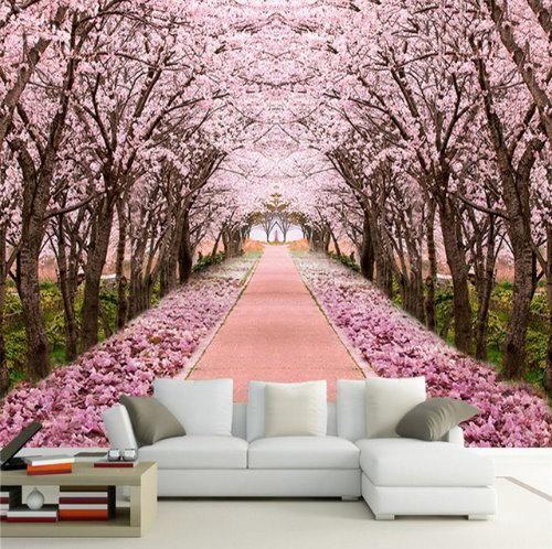 3d Pink Cherry Blossom Trees Wallpaper Mural For Home Or Business Tree Wallpaper Mural Tree Mural Mural Wallpaper