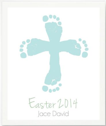First Easter Gifts for the Baby:  Personalized Easter Cross with Blue Baby Footprint Art Print by Pitter Patter Print @ Etsy: