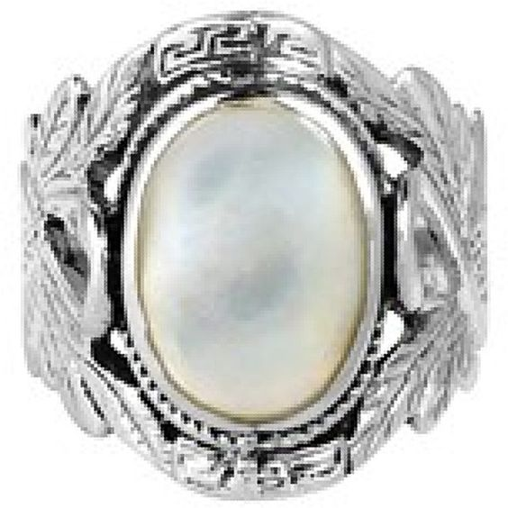 Aeravida Beautiful Couple Swan Oval Stone Sterling Silver Ring... ($41) ❤ liked on Polyvore featuring jewelry, rings, white, long sterling silver rings, oval stone ring, oval cut ring, oval ring and white ring