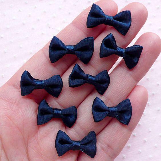 Satin Bows / Small Fabric Ribbon Bow Ties 8pcs / by MiniatureSweet