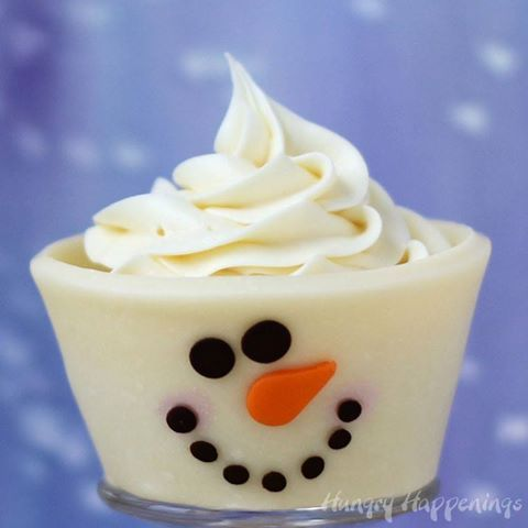 White Chocolate Snowman Cupcake  http://www.hungryhappenings.com/2013/11/Christmas-snowman-cupcakes-edible-wrappers.html