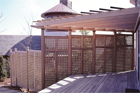 Using lattice for shade deck pergola with privacy for Lattice privacy panels for decks