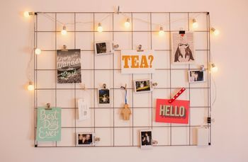 """Steel Wire Mesh Noticeboard ~ """"A clean and minimalist noticeboard, designed and made in England from steel wire. Perfect for making moodboards and displaying photos in your new home."""""""