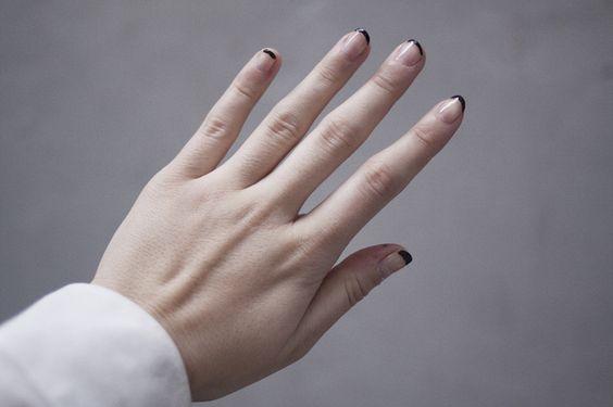 Black tipped manicure