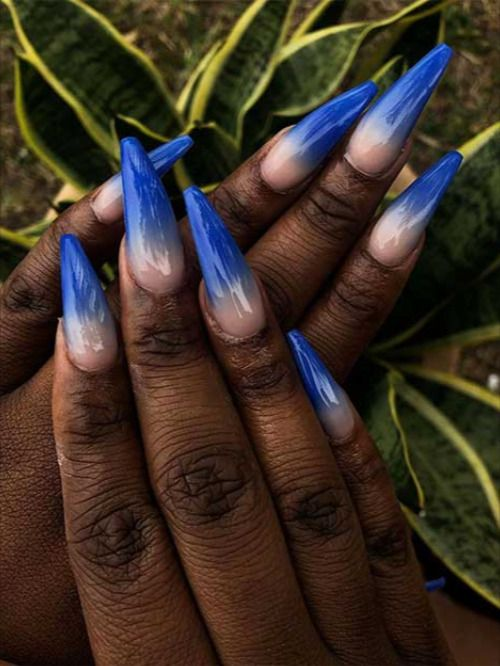 Cute Royal Blue Ombre Nails Coffin Shaped On Dark Skin Hands Blueombrenails Bluenails Coffinnails In 2020 Blue Ombre Nails Ombre Nails Blue Coffin Nails
