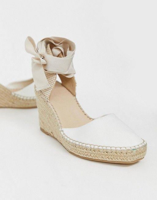 bab040f6436 DESIGN Jaylen espadrille wedges in white in 2019 | omg shoes ...