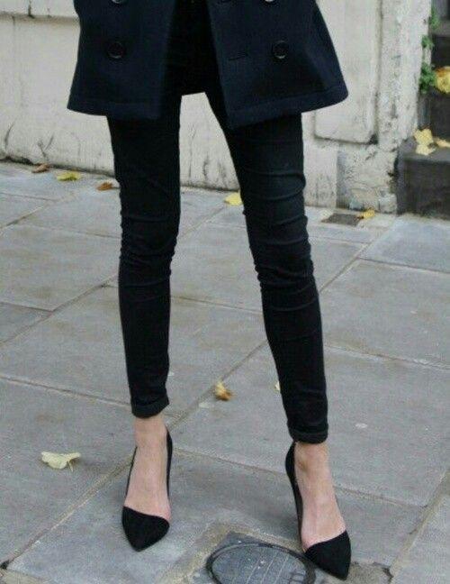 .: All Black, Black Black, Black Shoes, Black Heels, Black Pumps, Skinny Pants, Black Skinnies, Black Pants