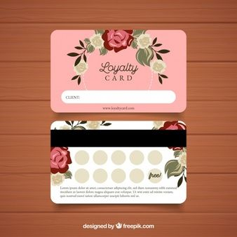 Lovely Loyalty Card Template With Floral Style Vector Free Download Loyalty Card Design Loyalty Card Loyalty Card Template