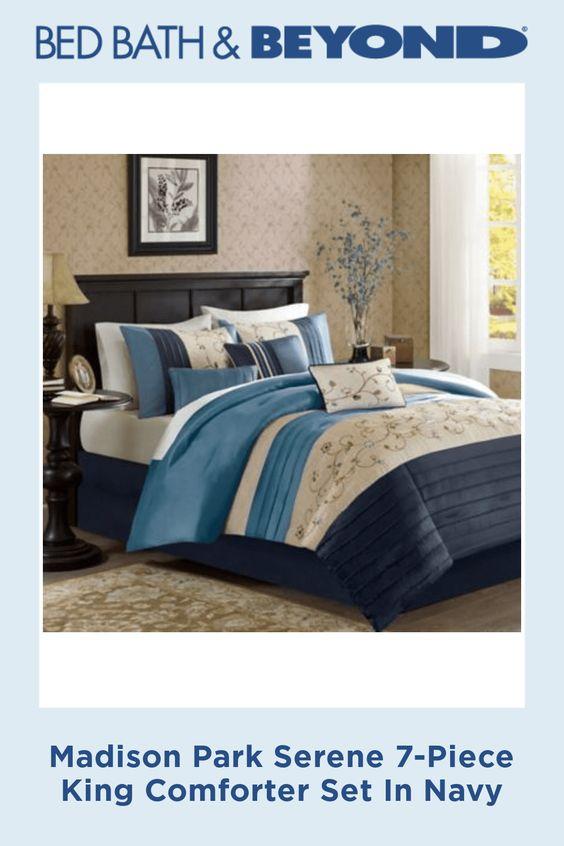 Madison Park Serene 7 Piece King Comforter Set In Navy Comforter