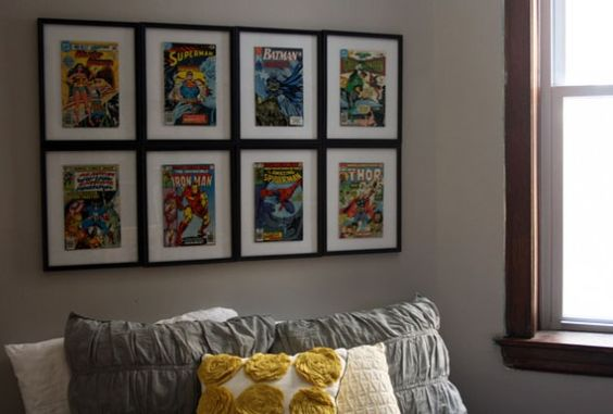 Framed comic books, except instead of comic books, I will frame some of V's art (thought I wish I had some comic books for this!)  -- thanks @Lauren Wilgus @ The Handmaden