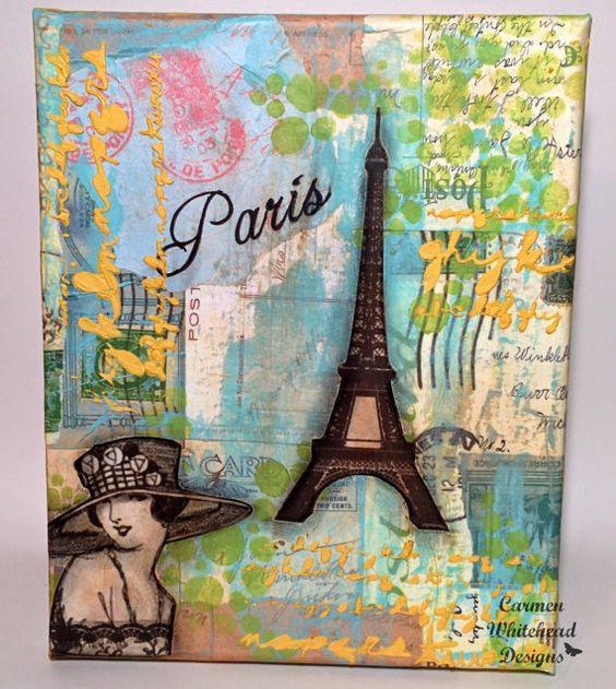 Paris  8 x 10 original mixed media canvas Eiffel by CarmenWDesigns