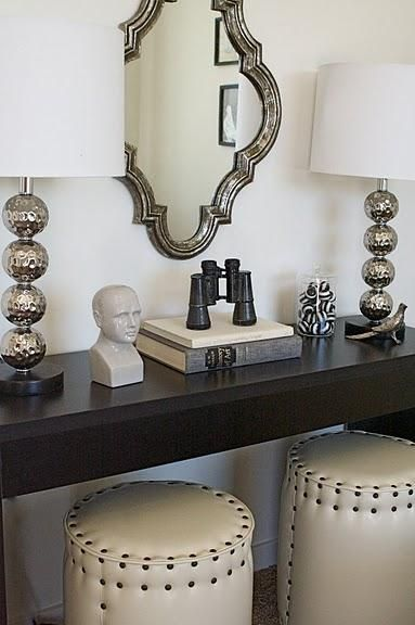 Gorgeous Entry Design Dark Wood Console Table Ivory