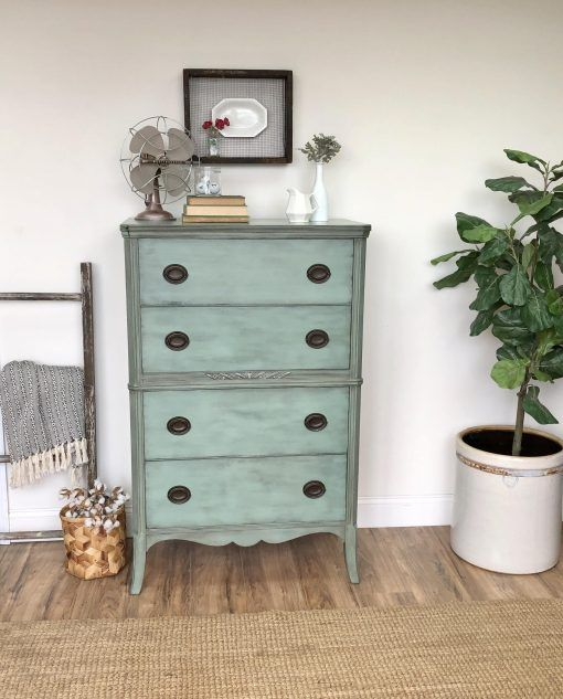 Mint Green Dresser Federal Style Furniture Vintage Chest Of