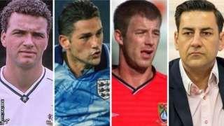 Image copyright                  Getty/PA/BBC                  Image caption                                      Paul Stewart, David White, Steve Walters y Andy Woodward (de izquierda a derecha) hablaron sobre las terribles experiencias que vivieron cuando daban los primeros pasos de sus carreras como futbolistas.                                Van seis, pero s