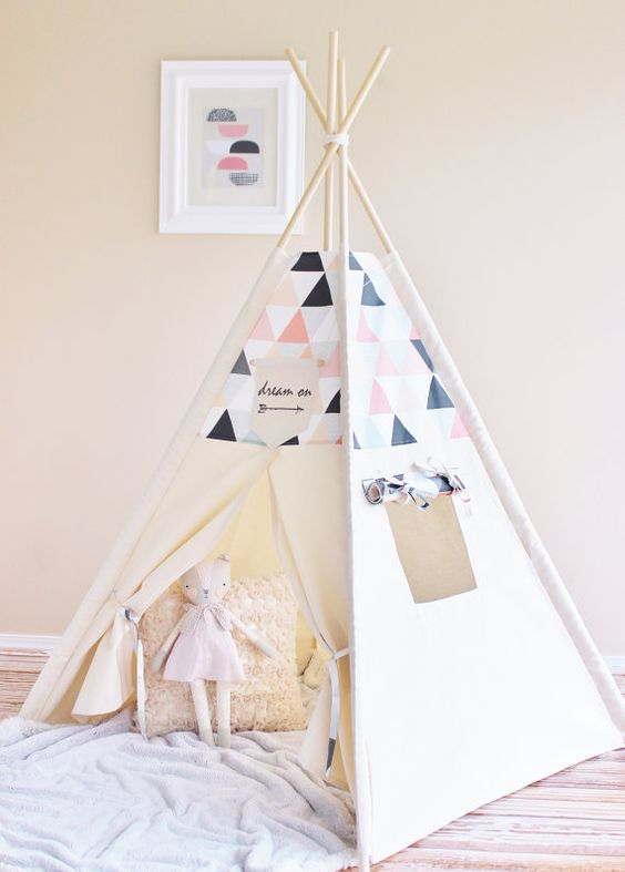 PINK PEACH GREY Cream Shaded Triangles Canvas Tipi by AshleyGabby