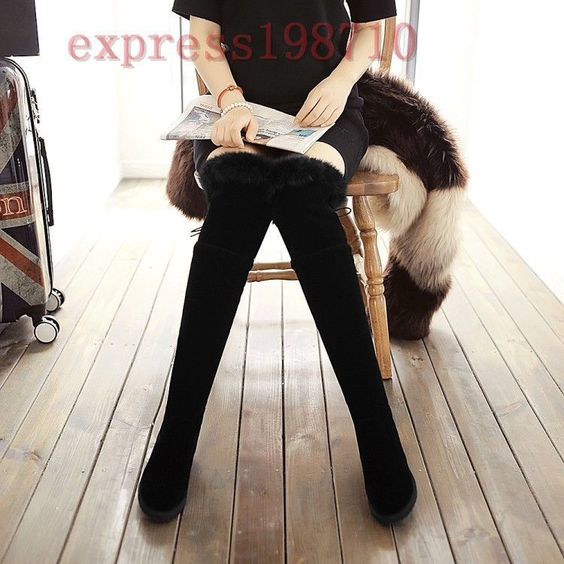 Fashion Womens Fur Faux Suede Over The Knee High Boots Wedges Warm Shoes Pull On