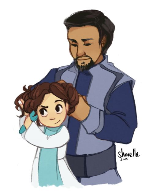 shorelle: Bail would be a pretty rad space dad; here he is helping bb Leia with her hair. HEADCANON ACCEPTED:
